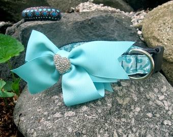 Dressy Bow dog collar, rhinestone dog collar, large dog collar, Removable bow dog collar, dog collar for girls, robins egg blue, female dog