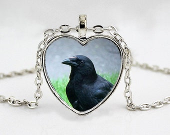 Crow Heart Pendant Necklace - Raven Jewellry - Blackbird - Bird Jewelry