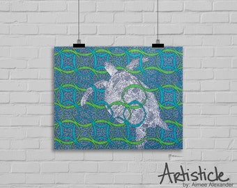 Turtle Art Print - Sea Life Artwork - Beach Home Decor - Turtle Drawing - Blue Green Art - Ocean Artwork - Animal Art - Geometric Print