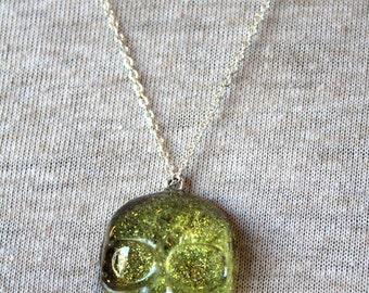 Glitter Junk! Green Glitter Skull Necklace