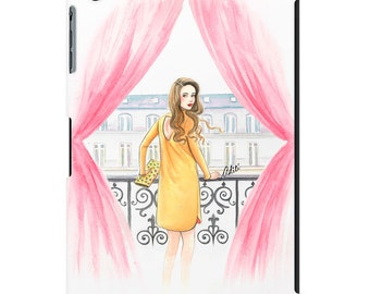 iPad case, ipad mini, ipad air, fashion illustration, fashion art, girl art, watercolor - Just a peek