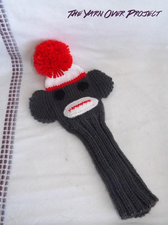Hand-Knit Sock Monkey Golf Club Cover Knit Golf Club Cover
