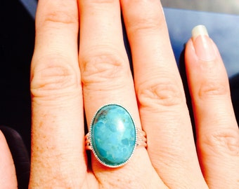 Summertime Turquoise Gemstone set in an 18x13mm Silver Plated Ring Base - fully adjustable to fit all finger sizes!