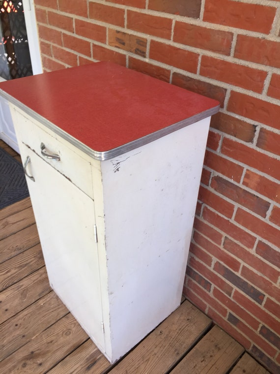 Vintage Mid Century Metal Kitchen Cabinet Red Formica Top