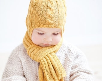 Baby mittens / Kids mittens / Hand knitted children mittens with knit cord