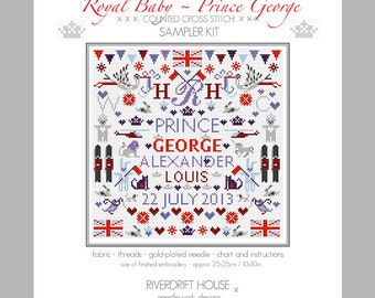 Royal Baby PRINCE GEORGE Counted Cross Stitch Sampler Kit by Riverdrift House