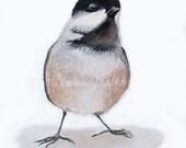 Chickadee Print, Nature Art, Watercolor Print, Black and Tan, Animal Art, Bird Art, Nature Home Decor, Nursery Decor, Bird Print