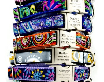 Summer Bright Personalized Dog Collars, Laser Engraved Name Plate,