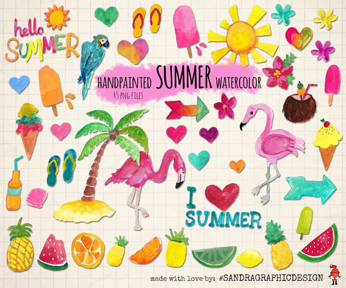Summer clipart, hand painted with watercolor, 45 PNG files ...
