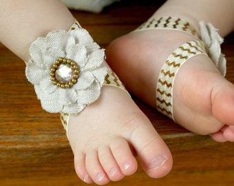 Ivory and gold baby barefoot sandals - baby barefoot sandals, barefoot sandals, baby shoes, infant sandals, flower sandals, toddler sandals