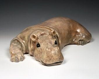 Ceramic hippo, taupe, tan and brown ceramic resting hippo sculpture, one-of-a-kind, original ceramic animal sculpture