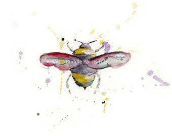 Colourful bee watercolour painting print, Bee art, Puddle Paints artwork, bee illustration, bee print, beekeeper gift, bumble bee