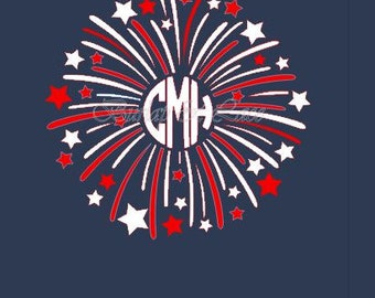Fireworks Monogram shirt. Perfect Patriotic shirt for Memorial Day and July 4th!
