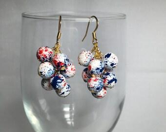 Cluster Earrings Patriotic Red White Blue
