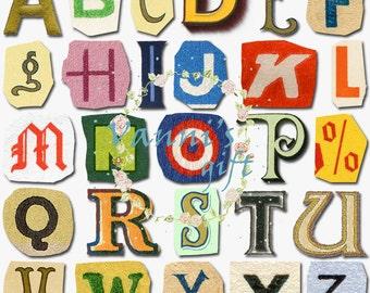 28 Vintage Colorful Letters Alphabet Digital Download Scrapbooking Clip Art c55