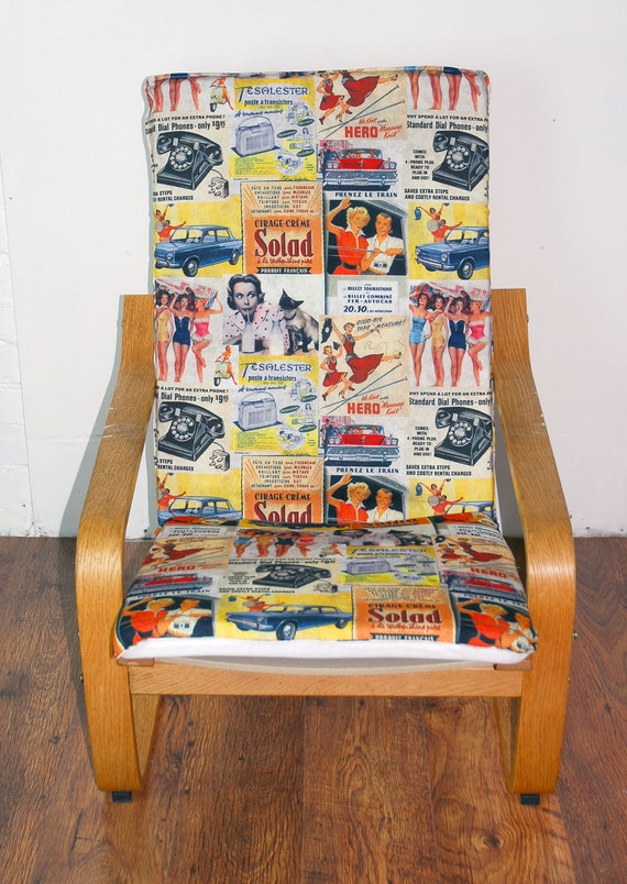 Ikea Poang Chair Cover Etsy ~ Slip cover to fit the ikea Poang chair in Vintage Ad's cotton fabric