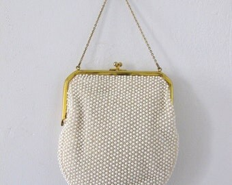 SALE Cordé Beaded Evening Bag with Gold Tone Clasp & Chain