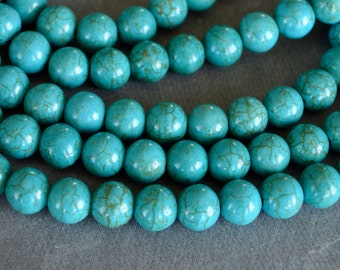 Turquoise Beads, 8mm, Round Synthetic Turquoise Stone Beads, 20 Beads, Stone, Gemstone, Hole 1mm