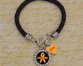Custom Loved One Leukemia Leather Bracelet