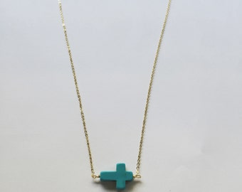 Blue Cross necklace in gold - 16 inch