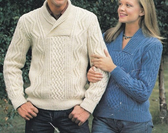 His n hers aran cable sweater pdf jumper adult man woman's vintage knitting pattern INSTANT download pattern only
