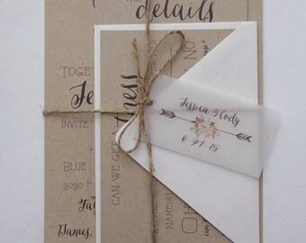 Rustic Wedding Invitation Set