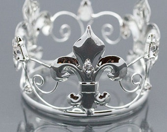 Newborn Rhinestone Crown Tiara Photo Prop Silver #4064