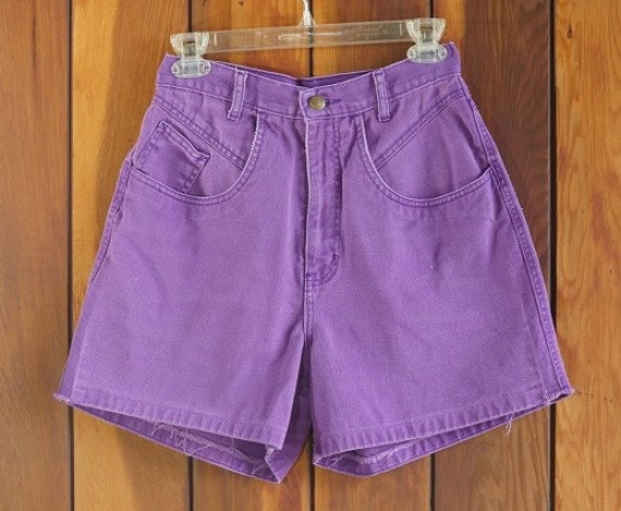 SALE 90s High Waist Purple Shorts Purple Jean Shorts Purple