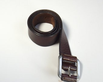 Vintage Brown Leather Belt Silver Buckle Men's XS - M Extra Small - Medium