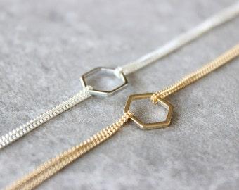 Hexagon Link Bracelet - Gold or Silver Minimalist Jewelry