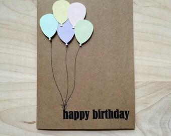 8 Happy Birthday Cards, Birthday Card Set, Balloon Happy Birthday Cards