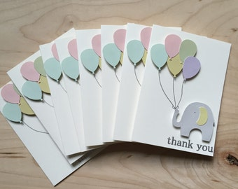8 baby shower thank you cards, baby thank you cards, baby shower thank yous, party thank you cards