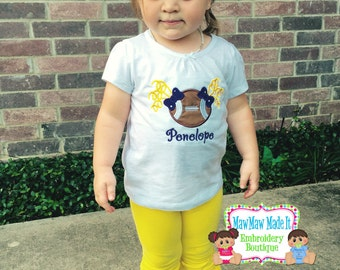 Personalized Football Girl Onesir or Shirt - Embroidered Applique Pigtails Football - Choose Team Colors
