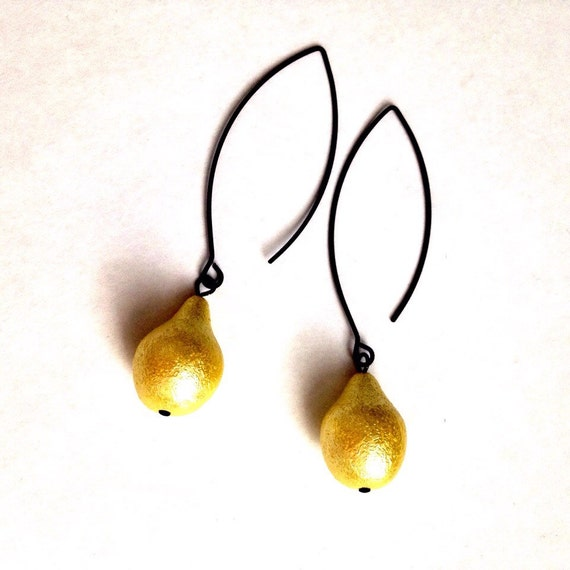 Gold, Yellow, Sparkle AB Pear Shape, Modern Minimalist Design, Elegant, Evening, Special Ocasion, Long, Dangle, Handmade Statement Earrings