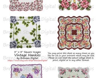 "3"" Vintage Hankies - Sheet 1 of 2,  3inch Squares, 6 images, Instant Download Digital Collage Sheet of Vintage Handkerchiefs"
