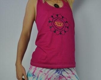 Racerback Tank Top, Lotus,Mandala,Cotton,Fuschia,Pink,Festivals,Yoga,screen printed,clothing,elven