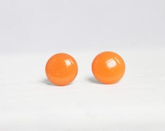 Bright Orange Earrings, Stud Earrings, Hypoallergenic Jewelry