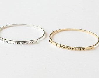20% OFF Coordinates Bracelet / Latitude Longitude Bracelet / Coordinates Jewelry / Coordinates Bangle in Sterling Silver - JB09