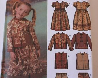 UNCUT  Simplicity 5939 Child's Dress, Pants, Jacket, Vest
