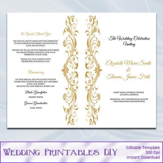 Gold Wedding Program Template Catholic Order Of Ceremony