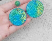 Blue earrings, round earrings, Green earrings,hoop earrings, paper earrings, beads earrings,embossing jewelry, quilling beads, paper jewelry