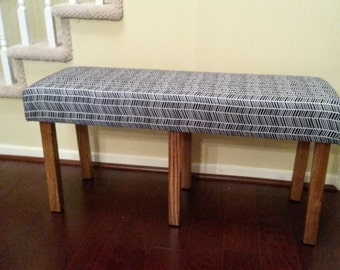 Upholstered Bench - Navy and White