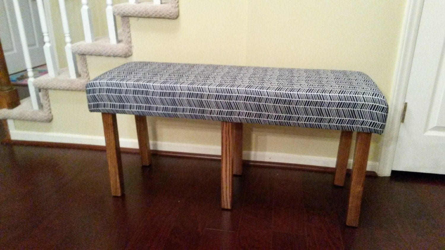 Upholstered Bench Navy And White