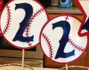 BOYS Birthday Baseball Centerpiece Sticks, KIT for set of FOUR - any single digit number or letter