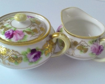 Nippon Creamer and double handled Sugar Bowl decorated with Roses and Gold trim
