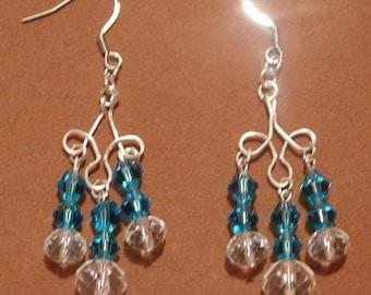 Beautiful Turquoise Swarovski Crystal Chandelier Earrings