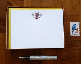 Honey Bee Motif, Boxed Set of 8 Letterpress Flat Notes, Boxed Stationery