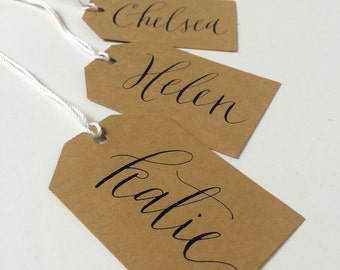 Custom Calligraphy Gift Tags for Christmas, Name or Place Cards, Handwritten/Hand Lettered by Ink and Anne