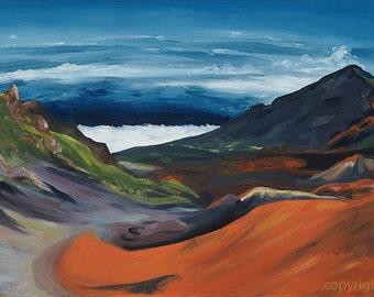 Haleakala View- Hawaiian volcano painting