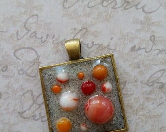 Fused Glass Dots in Resin Pendant